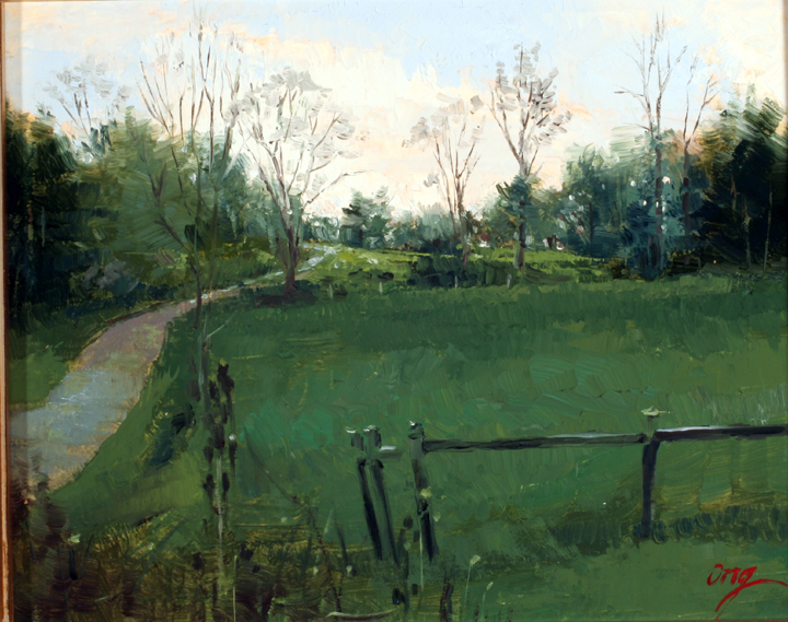 Evening Path-8x10-oil-mounted on board-Ong-15