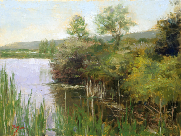 Sperr Park Pond-9x12-oil-mounted on board-Ong-15