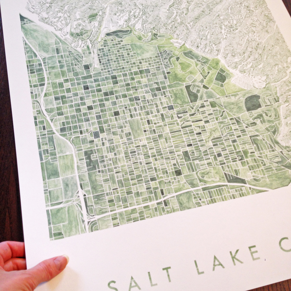 TOTC_K Sparenborg Brinton_Salt Lake City_Utah_watercolor_city blocks map drawing_TurnoftheCenturies_Print_hand_17x20